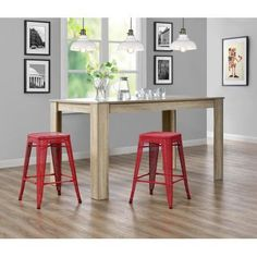 Dorel Home Products Nova 24 inch Metal Mesh Backless Counter Stool, Set of 2, Multiple Colors, Red