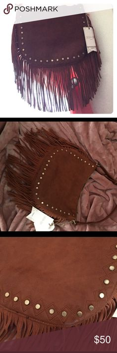 Cognac Large Fringe Crossbody Handbag Nwt. Clearing out my closet. No trades Faux Leather Boutique Bags Crossbody Bags