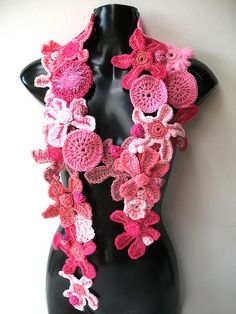 flowers scarf by freeform by prudence, via Flickr