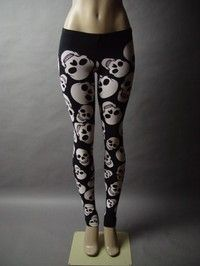 Graphic Skull Design Black White Emo Punk Rock Pants 27 mv Leggings XL 2XL 3XL