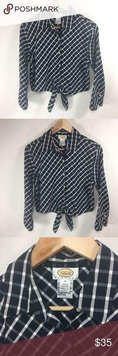 """Talbots Plaid Cropped Tie Front Top- 1D Talbots Plaid Cropped Tie Front Top  EUC. Like new.   Size S  18"""" armpit to armpit  18"""" long  14"""" sleeves armpit to end (11"""" when cuffed) Talbots Tops"""