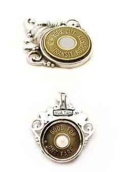 Bullseye subway token pendant  Coin pendant Necklace  by NoaTam