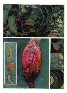 Moebius - Avna, a four page abstract comic. It was later published in an artbook called Moebius: Chaos, in 1991 p2