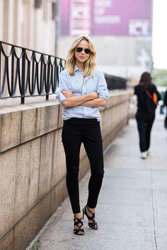 camisa jeans com calça e salto