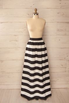 Jupe longue rayures noir blanc - Long black white striped skirt