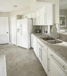 The Big Kitchen Reveal: Kashmir Granite, White Cabinet Paint, Gray Glass  Backsplash Tile, And Giotto Grey Floor Tiles.