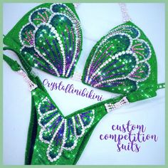 Emerald shattered glass with shades of green & purple crystals, and premium Czech connectors Physique Competition, Figure Competition Suits, Green And Purple, Shades Of Green, Figure Suits, Burlesque Costumes, Shattered Glass, Bikini Workout, Push Up Bikini