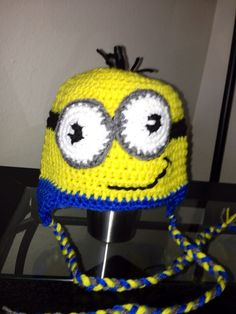 Despicable Me Minion inspired crochet beanie hat