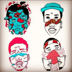 Frank ocean, earl , Chance the rapper , and childish gambino