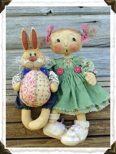 CF241 April's Prize Egg  Cloth Doll & Rabbit by CatAndTheFiddle