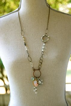 Mon Cheri.French shabby chic long charm necklace. Tiedupmemories