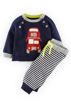 """Free shipping and returns on Mini Boden Intarsia Knit Sweater & Stripe Pants (Baby Boys) at Nordstrom.com. <p><B STYLE=""""COLOR:#990000"""">Pre-order this style today! Add to Shopping Bag to view approximate ship date. You'll be charged only when your item ships.</b></p><br>Totally charming and utterly classic, this cotton crewneck sweater features an intarsia-knit double-decker bus and neatly ribbed trim. Stripe-knit pants with banded cuffs help keep out the cold."""