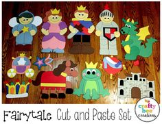 Fairytale Cut and Paste Set that includes patterns and directions.  Just download, print, cut, and glue.  Creates great room decor and bulletin boards.