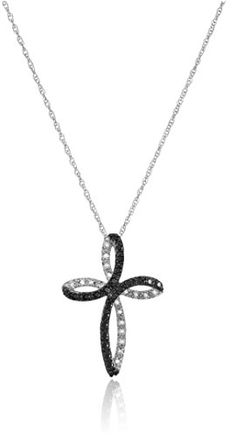 10k White Gold Black and White Diamond Cross Pendant Necklace (1/5 cttw, I-J Color, I2-I3 Clarity), 18″by Amazon Collection