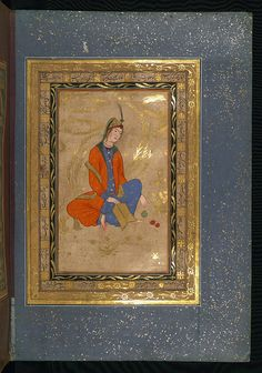 Album of Persian miniatures and calligraphy, Seated young woman holding a book, Walters Manuscript W.671, fol.27b by Walters Art Museum Illuminated Manuscripts, via Flickr