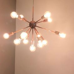 Modern Sputnik chandelier in copper colored aluminum. Hanging Chandelier, Sputnik Chandelier, Chandelier Lighting, Lustre Rose Gold, Home Office Closet, Deco Studio, Rustic Lamps, Girl Bedroom Designs, Luminaire Design