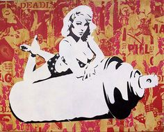 Can Girl Canvas (Hand Finished Silkscreen Signed Limited Edition of 3) by Hutch