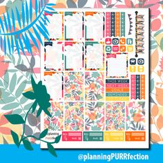 Free Printable Tropical Dreams Planner Stickers from planningPURRfection