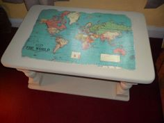 Map DECOUPAGE  .. topped coffee table