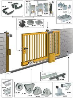 48 Ideas For Sliding Garage Door Decks Fence Gate Design, Steel Gate Design, Front Gate Design, Main Gate Design, House Gate Design, Sliding Fence Gate, Sliding Garage Doors, Front Gates, Entrance Gates