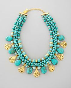 Multi-Strand Turquoise & Gold Plate Necklace by Jose & Maria Barrera