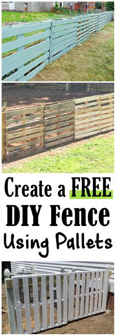 Pallet Outdoor Furniture Building a fence normally costs a pretty penny and also takes forever to construct. A DIY fence using pallets can be done for free and only take of the time to make. Wood Pallet Fence, Wooden Pallet Projects, Diy Fence, Backyard Fences, Wooden Fence, Wooden Pallets, Yard Fencing, Fence Art, Fence Ideas