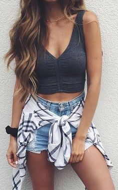 #summer #fashion crop top + denim