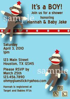Mod Sock Monkey Baby Shower Digital Invitation by Oh My Gluestick