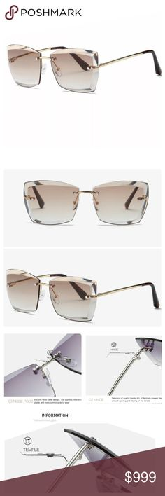 2ea8c16fc13 ⚘ARRIVED ⚘Brown Square Rimless sunglasses Please refer to the pic with the  dimensions to