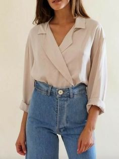 Cream silk blouse and mom jeans