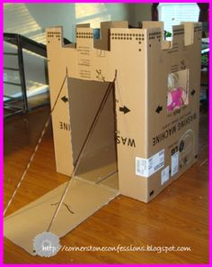 Cardboard Box Makeover.  Great for dramatic play! Cut out heart shaped windows or can put clouds around, flags, or draw stones pattern.