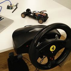 Driving an Arduino-powered RC car with a USB racing wheel. #Atmel #Arduino #Makers