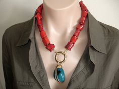 www.etsy.com/... Ashira Designer Jewelry - Trish Regan $235 Statement Necklace, red chunky coral with tagua pendant