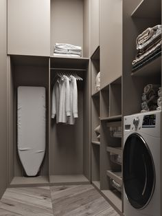 perfect laundry room designs ideas for small space 43 ~ mantulgan.me perfect laundry room designs idea. Modern Laundry Rooms, Laundry Room Layouts, Farmhouse Laundry Room, Laundry Room Organization, Laundry Storage, Laundry Shelves, Laundry Area, Laundry Tips, Small Laundry