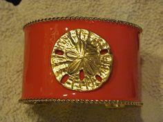 Cuff Bracelet Bright Pink with Sand Dollar  Pop by savannahjacks, $40.00