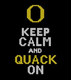 Keep calm and quack on Oregon Ducks counted cross stitch pattern