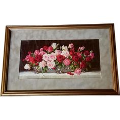 c1910 Roses Print Gold Frame Half Yard Long at Victorian Rose Prints on rubylane.com