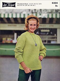 A verdant outfit from the cover of a Lee Target yarn leaflet, 1962. #vintage #1960s #fashion #green