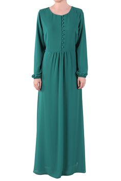 Livia Button Front Chiffon Maxi Dress - Green