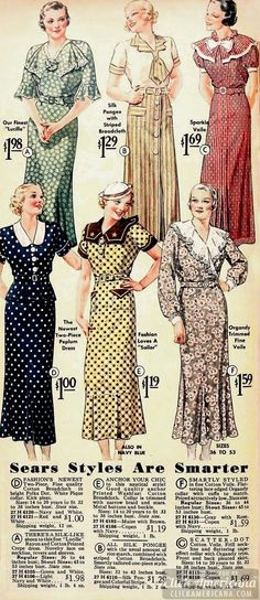 1935 dresses from Sears: ladylike, classy, and feminine.These are lovely and modest dresses.