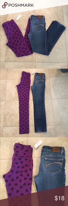 "$13 girls size 10 skinny jeans and leggings Leggings are vanilla star brand and are nwt. Justice skinnies are in great condition. ✔The price in the beginning of the title of my listings is the bundle price. These prices are valid through the ""make an offer"" feature after you create a bundle. These bundle orders must be over $15. Ask me about more details if interested.  ❌No trades ❌No holds Justice Bottoms Jeans"