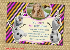 Disney Frozen Frozen Elsa Frozen Birthday by AnastasiaArtDesigns, $8.99 Frozen Frozen, Frozen Party, Disney Frozen, 5th Birthday, Birthday Parties, Frozen Birthday Invitations, Free Thank You Cards, First Birthdays, Elsa