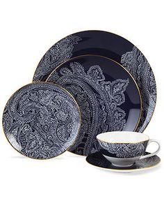 Lauren Ralph Lauren Dinnerware, Round Hill Collection - Fine China - Dining & Entertaining - Macy's. I love this. I need it.