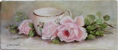 Original Painting on Panel - Vintage Laying Roses & Tea Cup - Postage is included Australia Wide