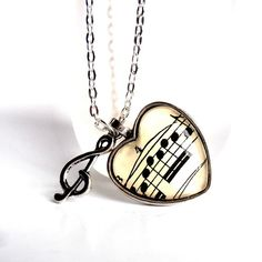 Items similar to Heart Music Necklace, Sheet Music Art, Musical Note Jewelry, Treble Clef Charm, Heart Pendant on Etsy Music Necklace, Music Jewelry, Long Pendant Necklace, Long Chain Necklace, Diy Necklace, Cute Jewelry, Necklace Charm, Sheet Music Art, Heart Shaped Necklace