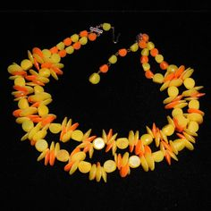 Yellow and Orange West German Beaded Necklace from Not Just MUSI Bows on Ruby Lane