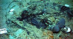 Posibles restos humanos, incrustados en el lecho marino