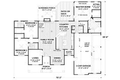 Southern Style House Plans - 2097 Square Foot Home , 1 Story, 3 Bedroom(large walkin closets) and 3 Bath, 3 Garage Stalls by Monster House Plans - Plan Brick House Plans, Ranch House Plans, House Floor Plans, Br House, Story House, The Plan, How To Plan, Plan Plan, Bungalows