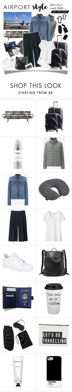 """""""Airport Style!"""" by solespejismo on Polyvore featuring CalPak, Ouai, Kennedy Home, Uniqlo, HAY, NIKE, The Row, Sofiacashmere, House Doctor and Rodin"""