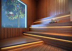 Unique Home Interior Saunas, Sauna Steam Room, Sauna Room, Sauna Lights, Sauna A Vapor, Sauna Seca, Sauna House, Sauna Design, Steam Spa